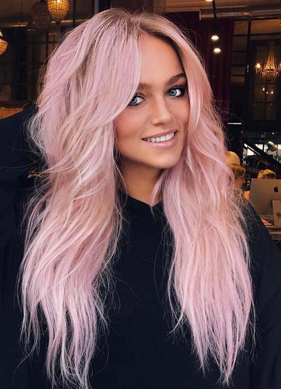 15 Amazing Pink Hair Colors for Long Hair in 2018
