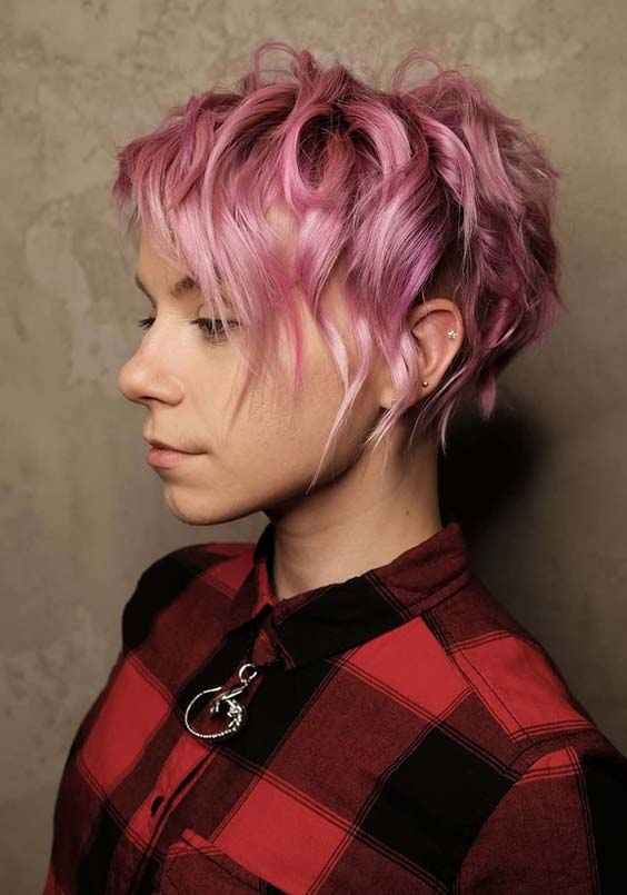 23 Trendy Pink Curly Pixie Haircuts for Fashionable Women 2018