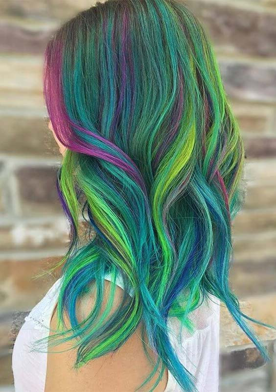 38 Gorgeous Green & Blue with Purple Hair Highlights 2018