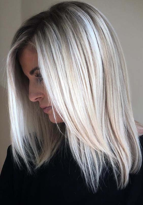 28 Excellent Ice Blonde Hair Colors With Dark Roots In