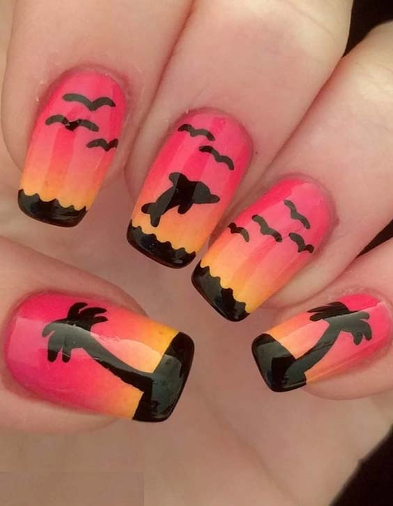 44 Cute Sunset Nail Art Designs for Women 2018
