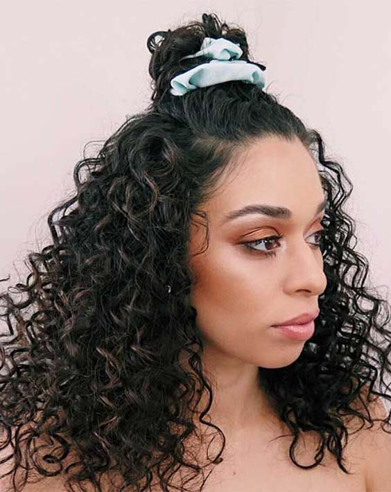 33 Gorgeous Top Knot Bun with Long Curls 2018