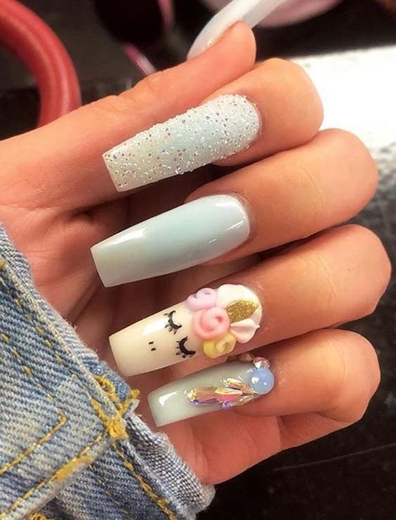 15 Trending Unicorn Nail Art Designs for 2018 - 15 Trending Unicorn Nail Art Designs For 2018 Modeshack