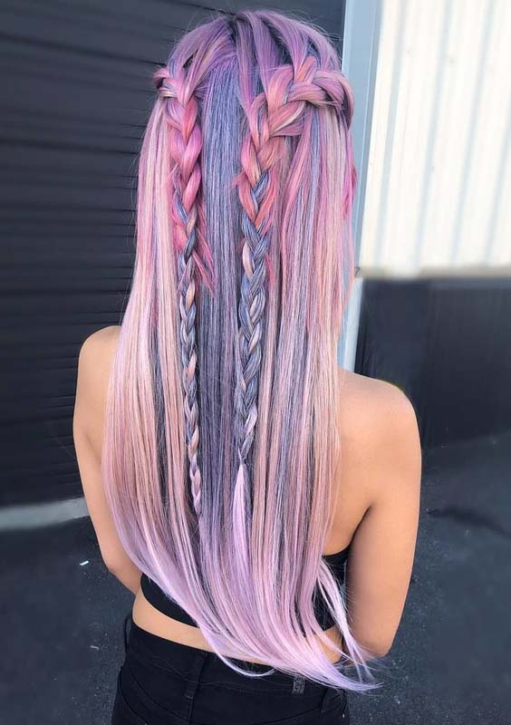 42 Awesome Pastel Braids for Long Hair to Show Off in 2018