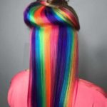 Favorite Rainbow Hair Colors with Top Knot Bun in 2021