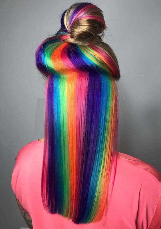 30 Favorite Rainbow Hair Colors with Top Knot Bun in 2021