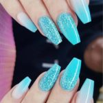 Glitter Mali Blue Nail Art Designs for 2018