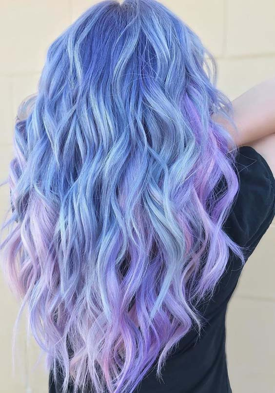 47 Gorgeous Icy Blue, Lavender and Pink Hair Color Ideas in 2018
