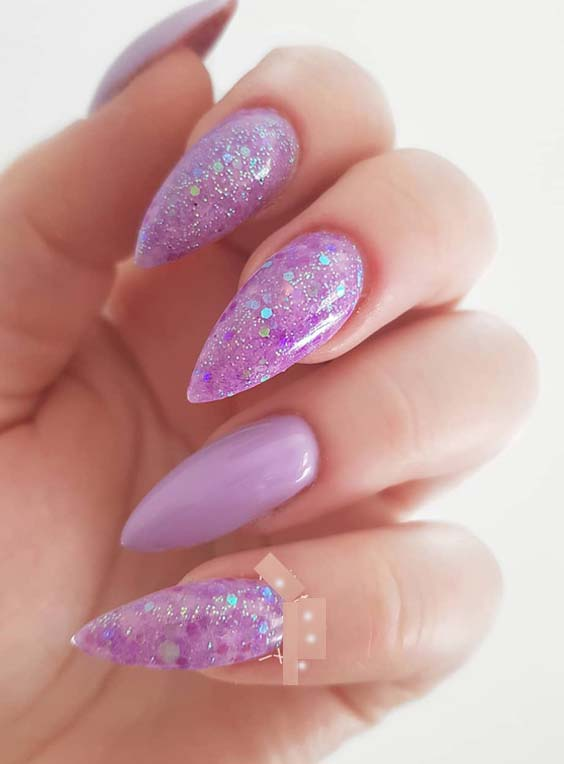 50 Gorgeous Lavender Glitter Nail Art Designs for 2018