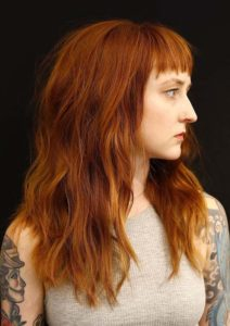 Long Lyered Red Wavy Hairstyles with Bangs for 2021