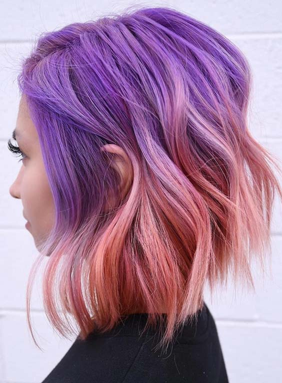 26 Gorgeous Purple To Pink Hair Colors Combinations for 2018