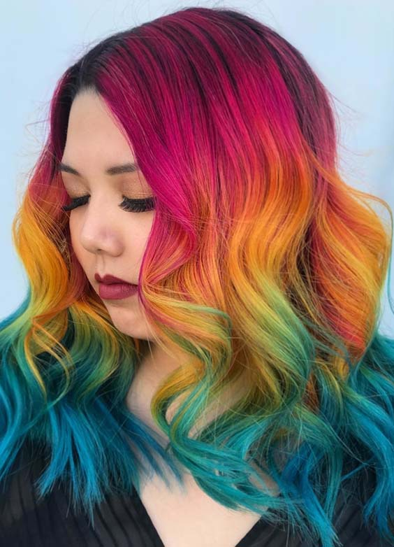 38 Awesome Rainbow Hair Color Ideas for 208