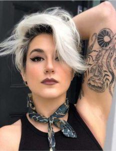 Side Swept Platinum Blonde with Dark Roots in 2021