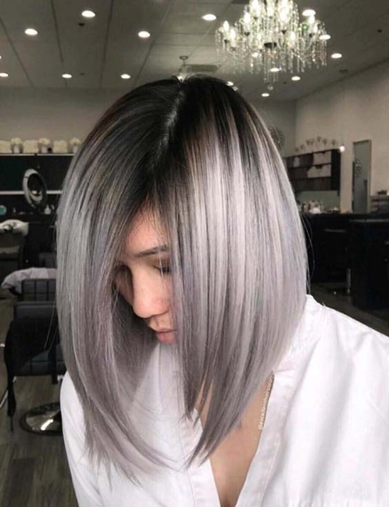38 Popular Silver Metallic Long Bob Hairstyles for 2018
