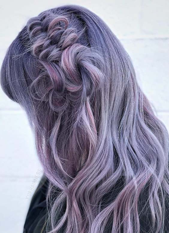 43 Smokey Purple Braid Styles for Long Hair Women in 2021