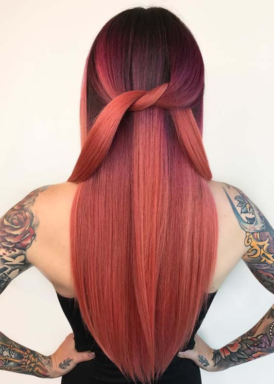 55 Stunning Long Sleek Red Hairstyles for Women 2018