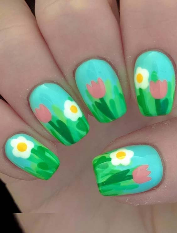 35 Easy Summer Flower Nail Art Designs in 2018
