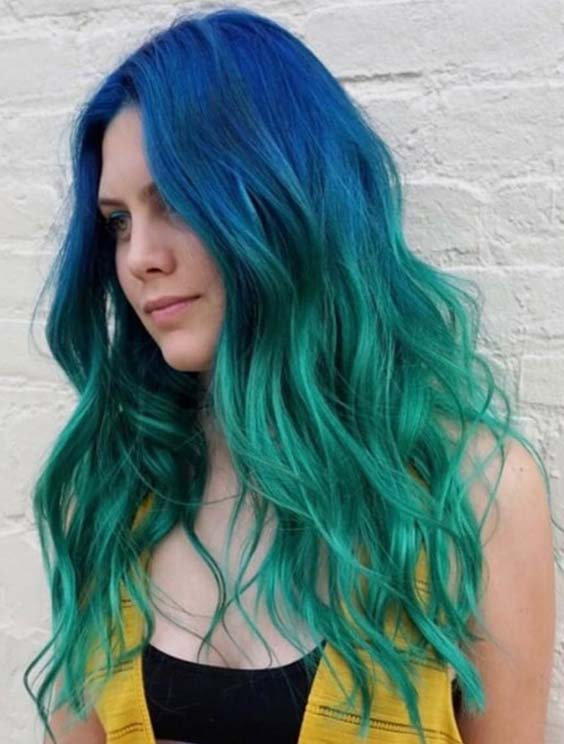15 Amazing Blue Green Ombre Hair Color Trends for 2021