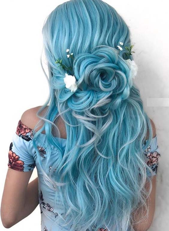42 Elegant Blue Bridal & Wedding Hairstyles for 2021