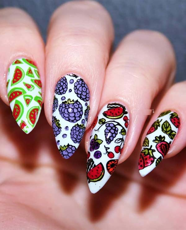 55 Stylish Fruit Stamping Nail Designs to Show Off in 2018