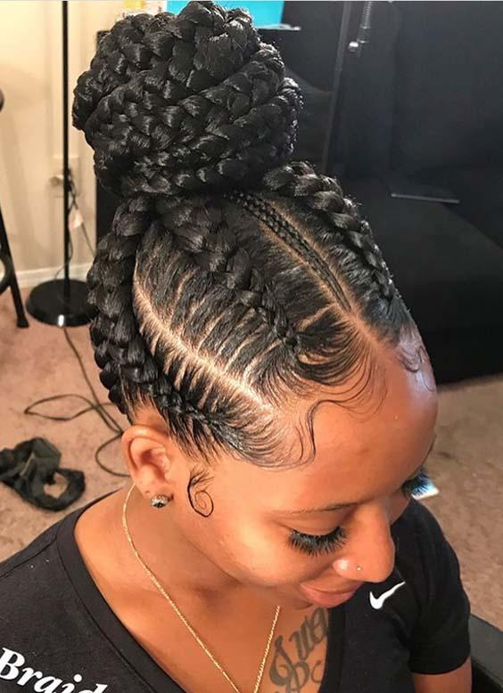 44 Gorgeous Braided Bun Hair Looks 2018 for Black Women