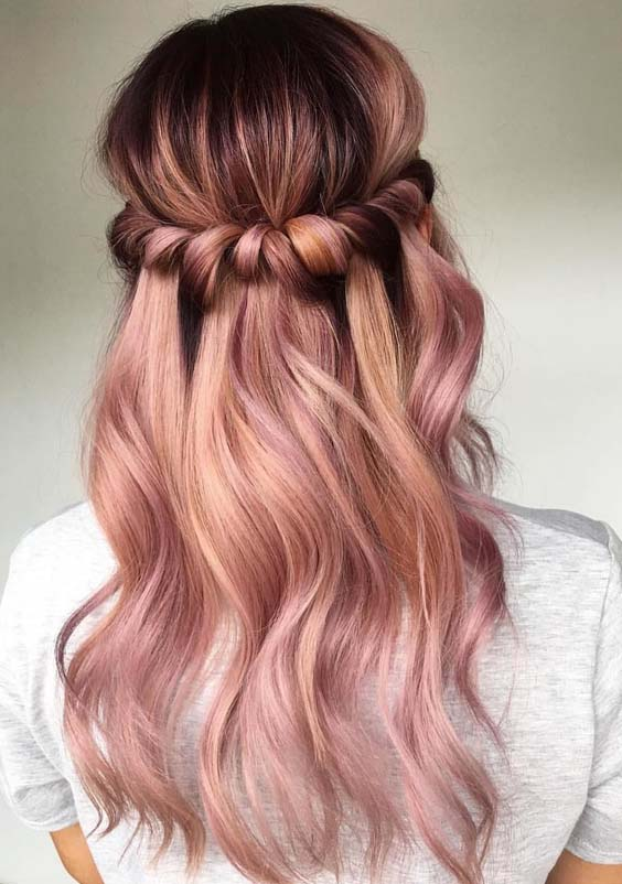 26 Best Half Up Rose Gold Balayage Ombre Hairstyles in 2021