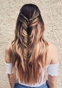 Half-up Fishtail Braids with Smooth Shiny Waves for 2021