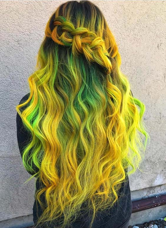 47 Incredible Yellow & Green Hair Colors Combinations in 2021