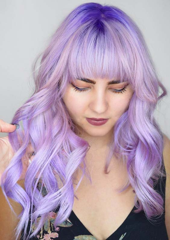 42 Stunning Long Purple Hairstyles with Bangs for 2021