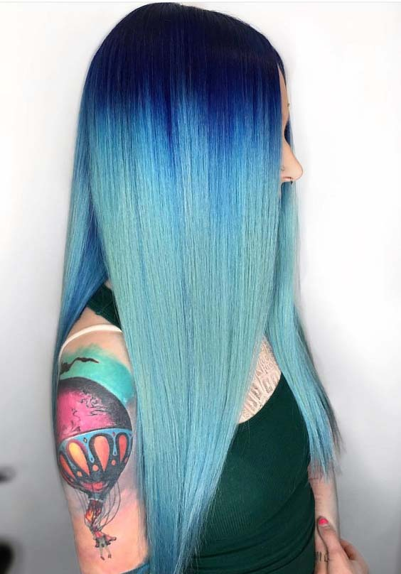 42 Adorable Long Sleek Blue Hairstyles & Hair Colors for 2018
