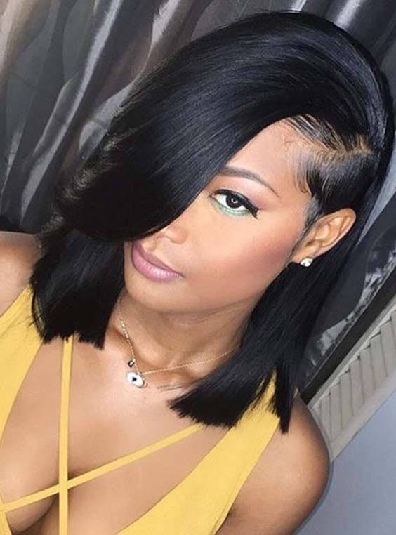 45 Pretty Lob Styles with Side Bangs for Women 2018