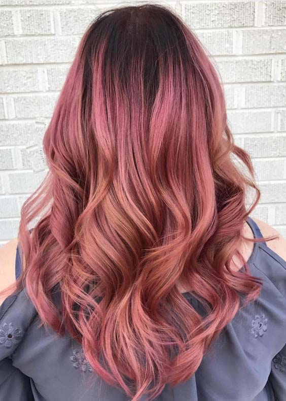 46 Stylish Rose Gold Hair Color Ideas for 2018