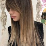 Sleek Straight Balayage Hairstyles with Bangs in 2018