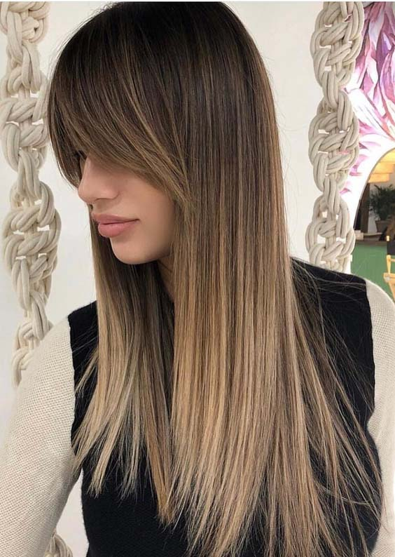 21 Gorgeous Sleek Straight Balayage Hairstyles with Bangs 2018