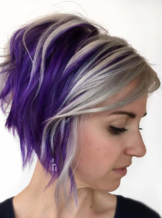 31 Adorable Stacked Bob Purple Haircuts for 2018