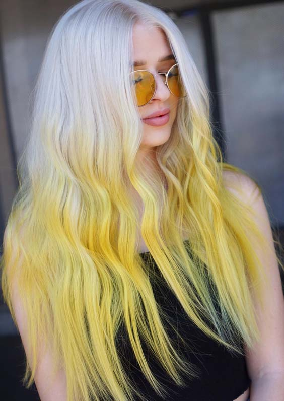 26 Gorgeous White Blonde & Yellow Hair Color Trends for 2018
