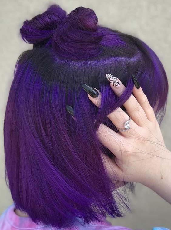28 Charming Dark Purple Hair Colors & Haircuts in 2021