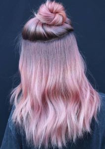Fabulous Top Knot Bun with Pink Hairstyles in 2018