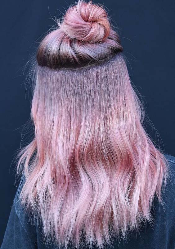 38 Fabulous Top-Knot Bun with Pink Hairstyles in 2018
