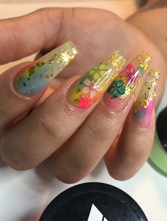 45 Best Flowers & Glitters Nail Designs for 2021