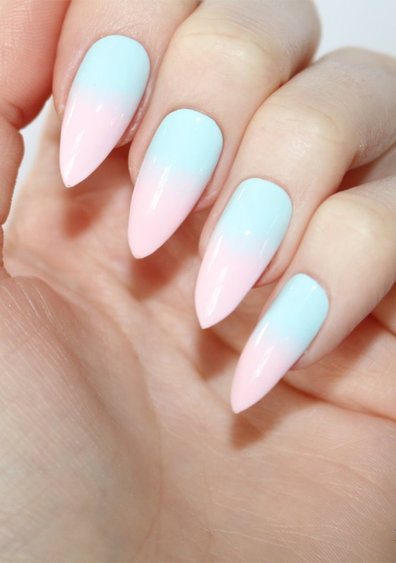 27 Unique Pastel Ombre Stiletto Nail Art Designs in 2018