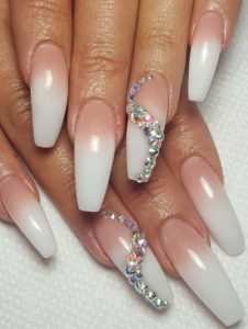 Pink White Long Nail Arts & Designs in 2021
