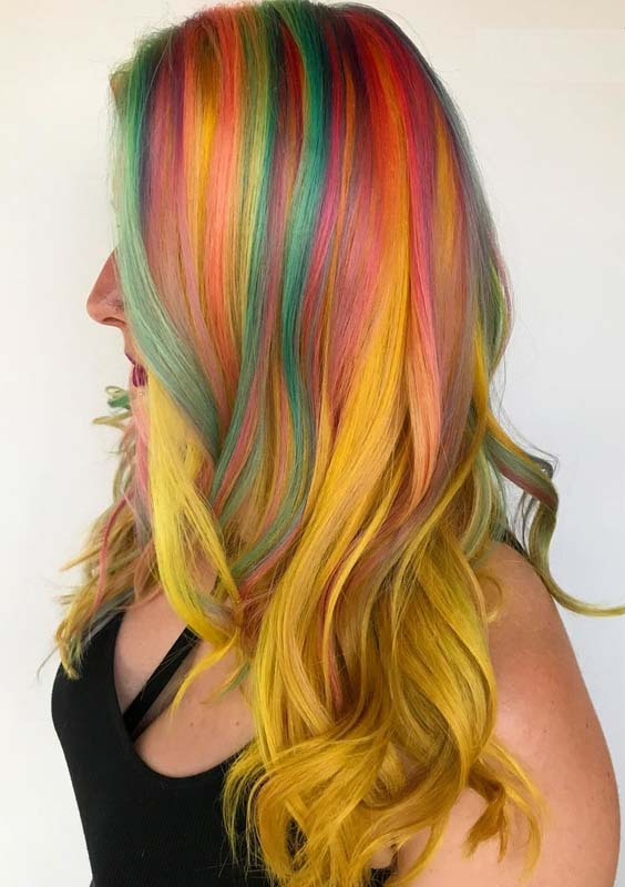 48 Charming Rainbow & Yellow Hair Coloring Techniques in 2021