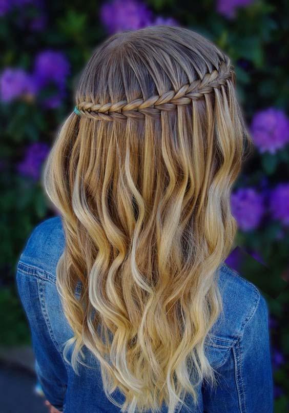 54 Adorable Scissor Waterfall Braid & Curls for 2018