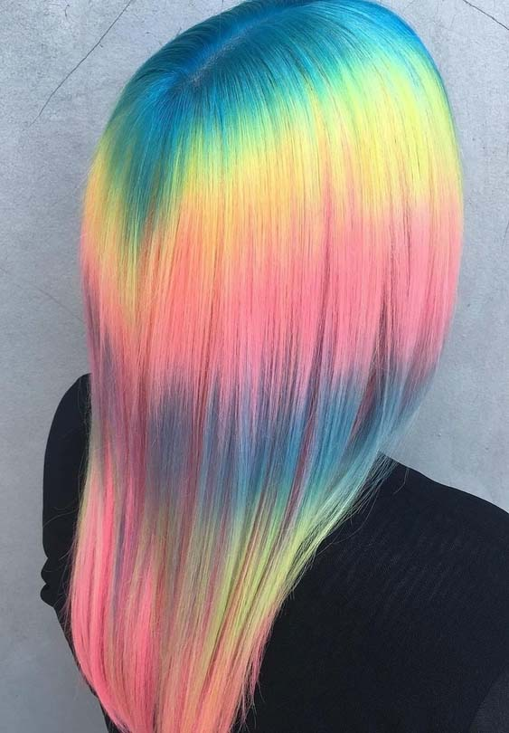 39 Unique Shine Line Rainbow Hairstyles & Hair Colors in 2018
