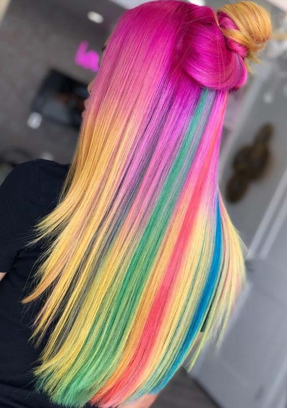 60 Stunning Rainbow Hair Color Looks to Try in 2018