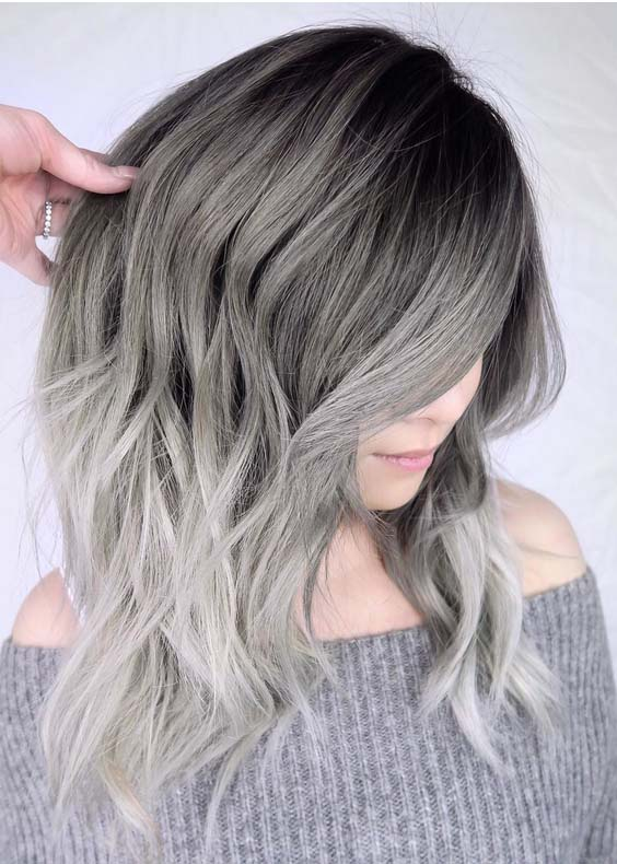 41 Stunning Silver Hair Colors with Dark Roots in 2021