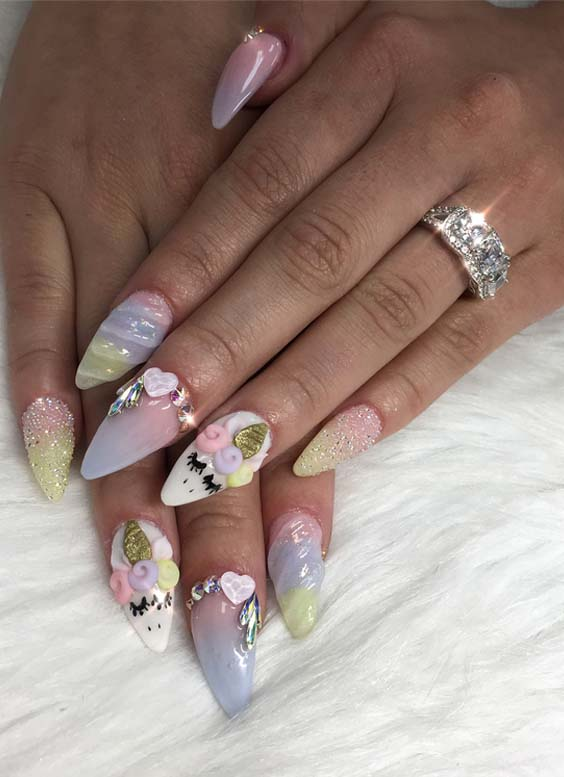 48 Fantastic Unicorn Nail Arts & Designs for 2021