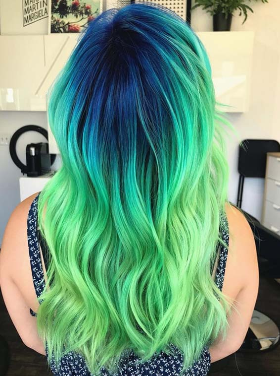 Beautiful Blue & Green Hair Color Styles in Year 2018