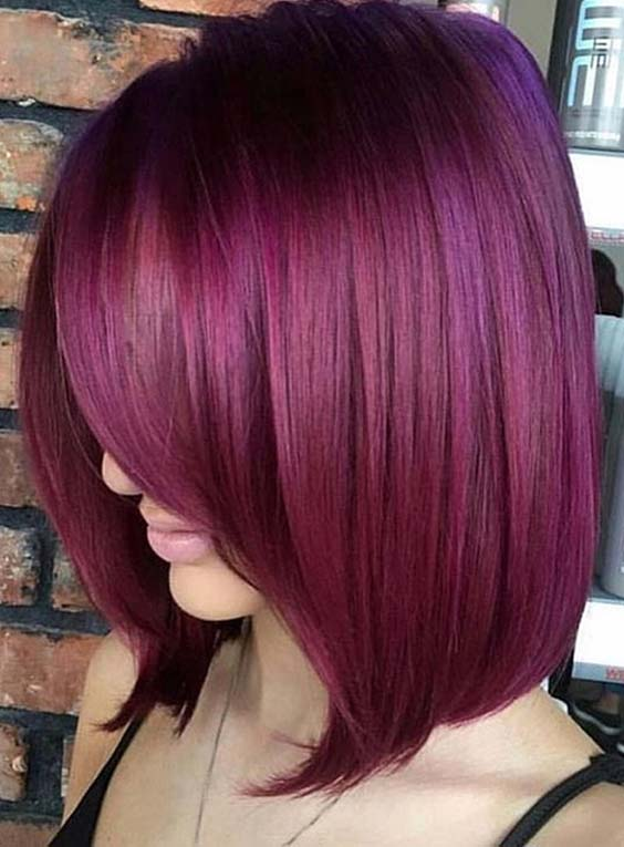 Gorgeous Plum Hair Color Trends & Shades for 2018